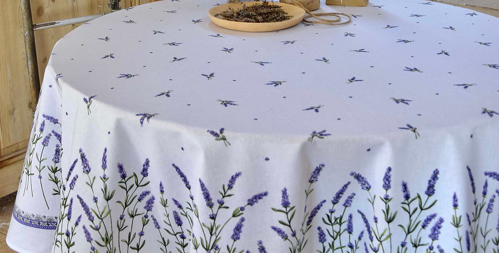 """French Tablecloth Coated 70"""" Round White Lavandine"""