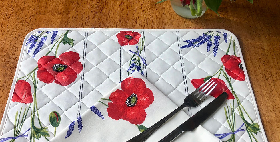 White Poppy & Lavender Coated Cotton Placemat