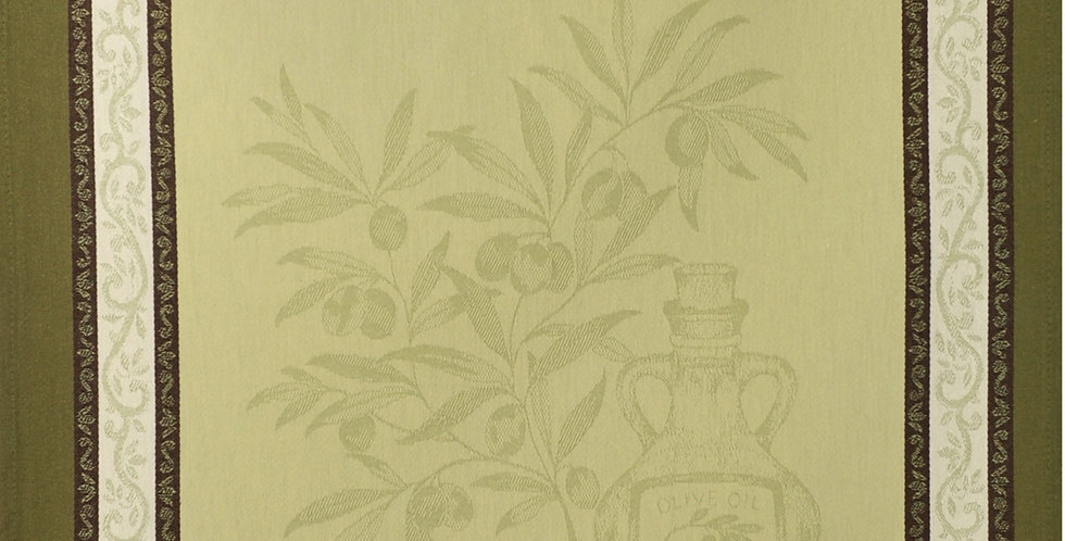 French Kitchen Towel Jacquard Green Olive