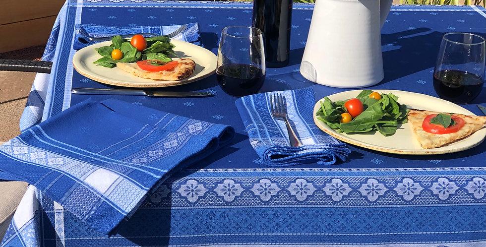 French Tablecloth Jacquard Blue Callas