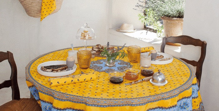 """French Tablecloth Coated 70"""" Round Yellow/Blue Tradition"""