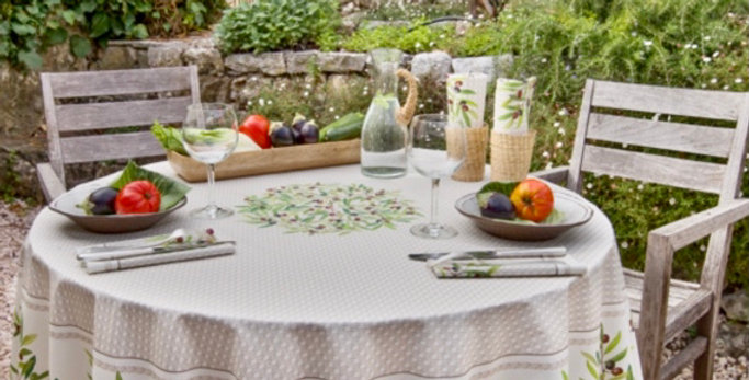 """French Tablecloth Coated 90"""" Round Ecru Nyons"""