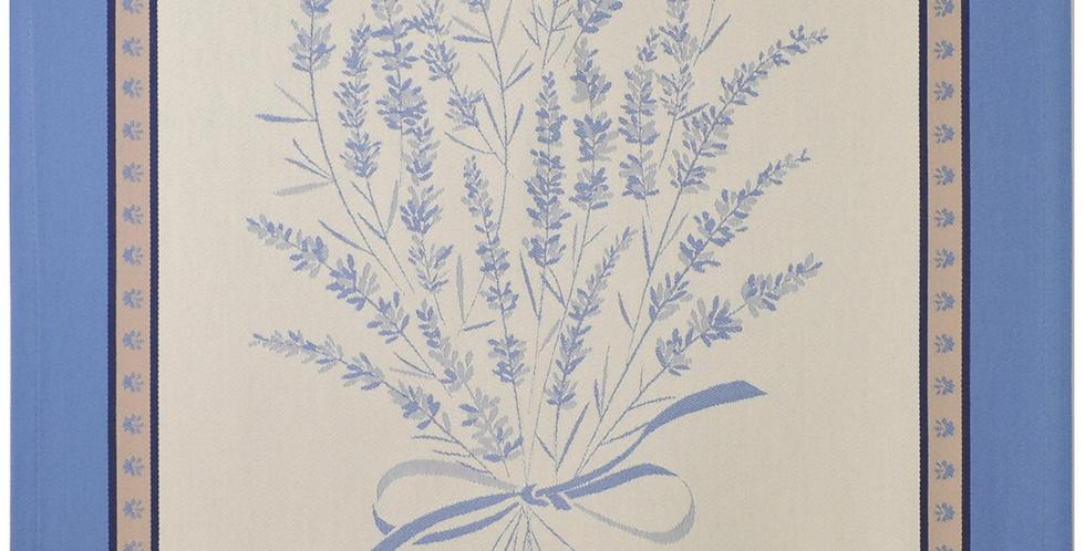 French Kitchen Towel Jacquard Ecru/Blue Grignan