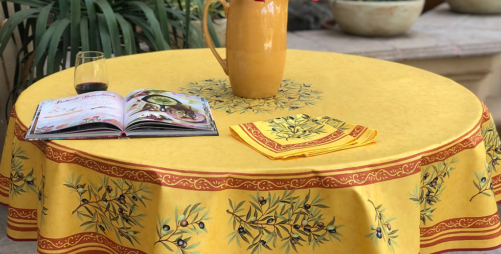 "Yellow Clos Des Oliviers 70"" Round Coated Tablecloth"