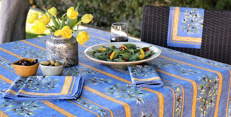 French Tablecloth Coated Striped Blue Clos des Oliviers