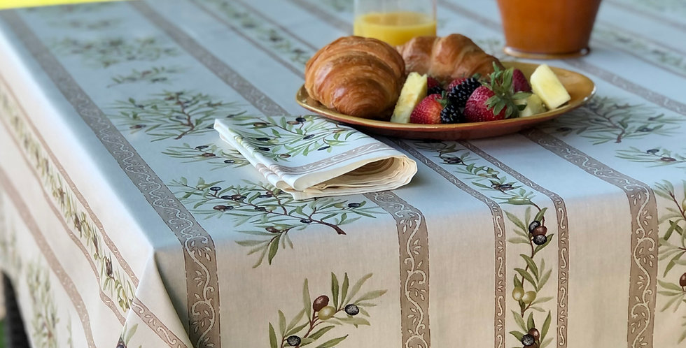 French Tablecloth Coated Striped Ecru Clos des Oliviers