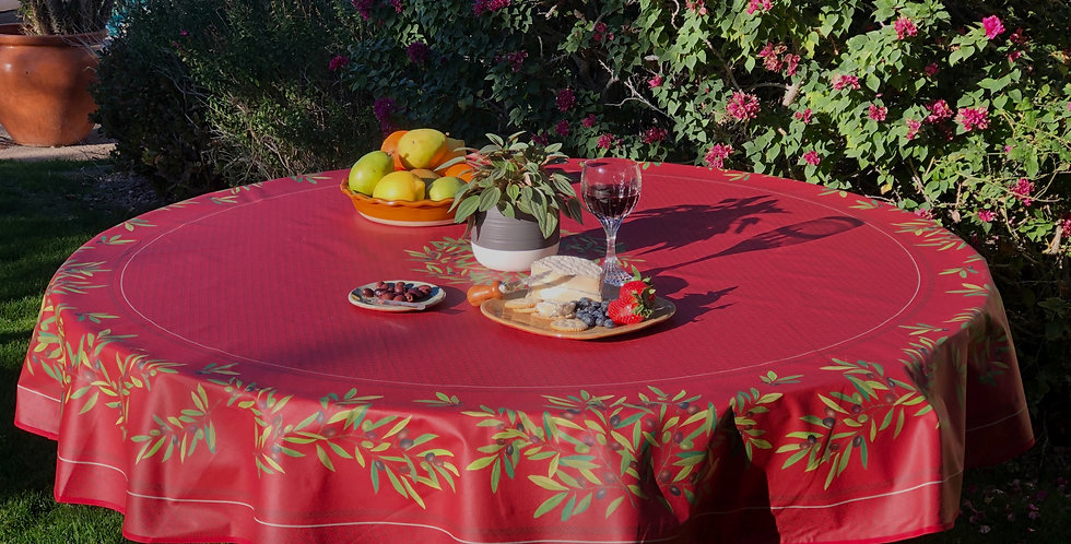 """French Tablecloth Coated 90"""" Round Red Nyons"""