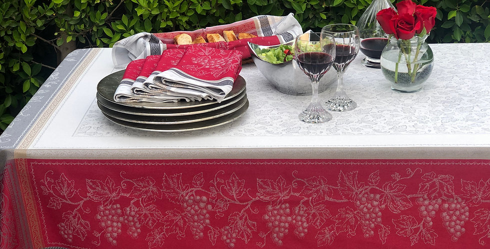 French Tablecloth Jacquard Red Coteau