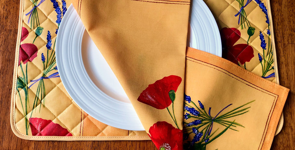 French Placemat Coated Yellow Poppy