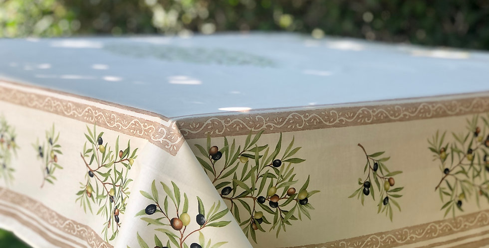 French Tablecloth Coated Ecru Clos des Oliviers