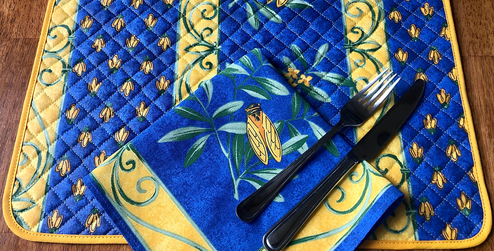 Blue Cigale Coated Cotton Placemat