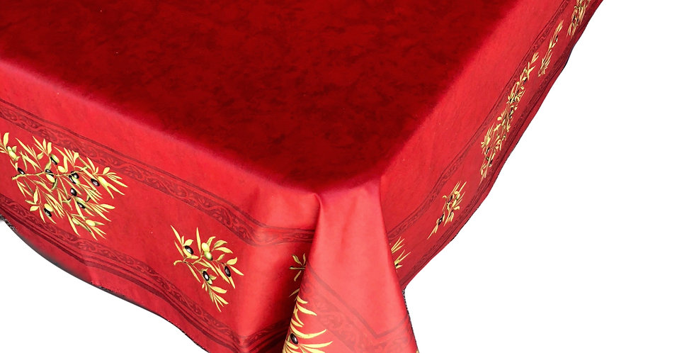 Red Clos Des Oliviers Center Design Coated Cotton Tablecloth