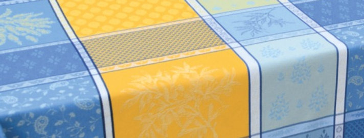 """Yellow/Blue Valbonne 70"""" Round Coated Jacquard Woven Tablecloth"""