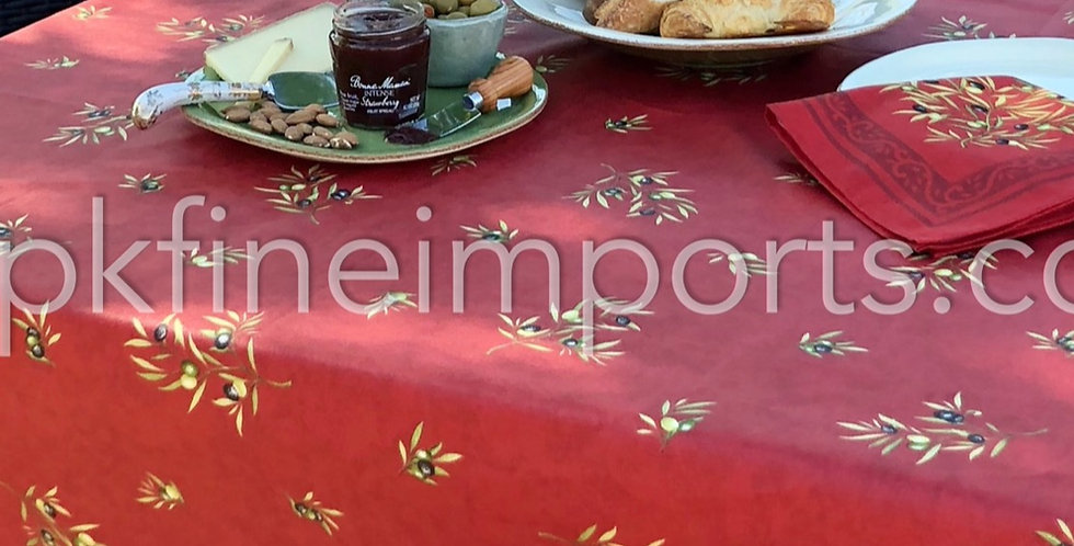 """French Tablecloth Coated 60"""" Round All Over Red Clos des Oliviers"""