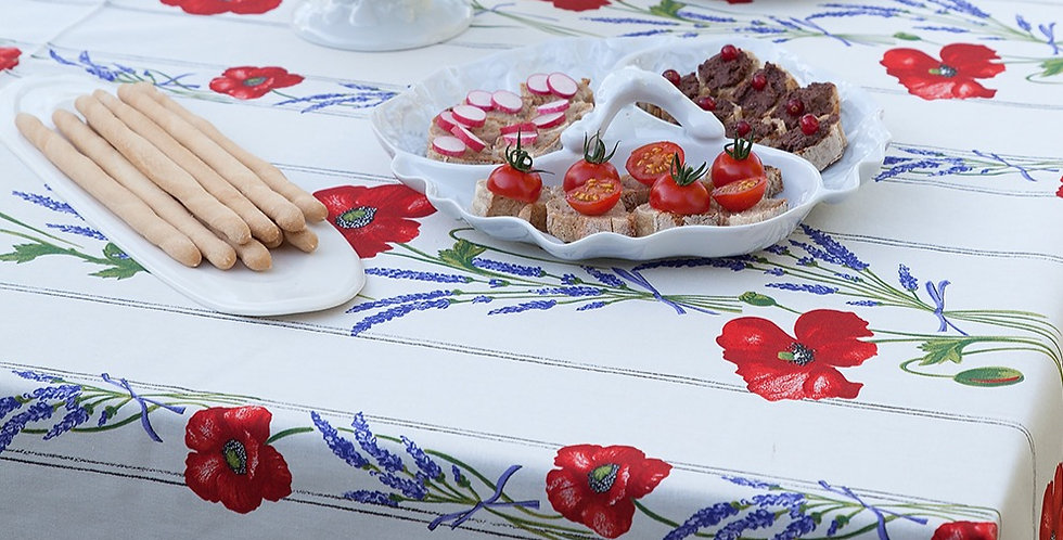 """French Tablecloth Coated 60"""" Round Striped White Poppy"""