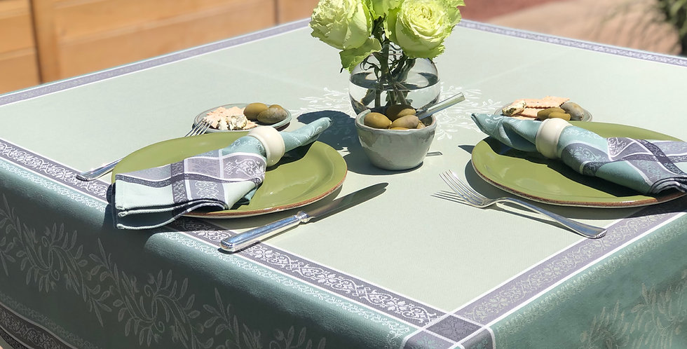 French Tablecloth Jacquard Green Olivia