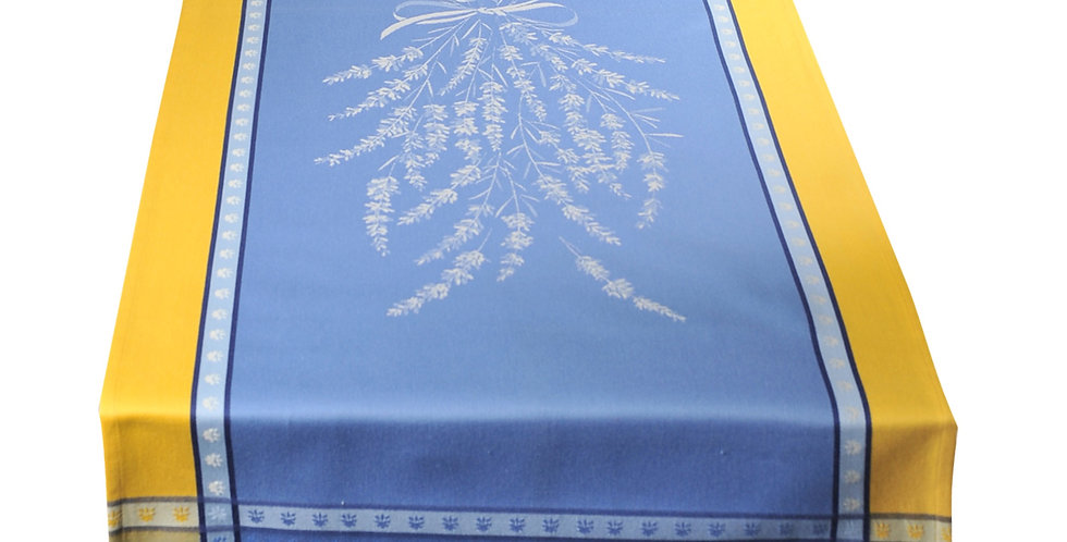 French Table Runner Jacquard Blue/Yellow Grignan