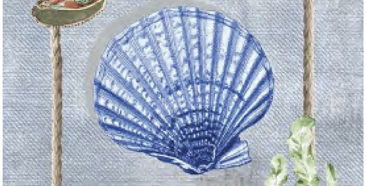 Blue Seashell Printed Cotton Kitchen Towel