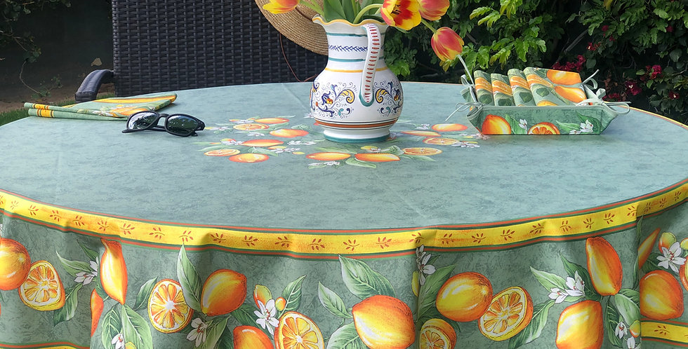 """French Tablecloth Coated 70"""" Round Green Citron"""