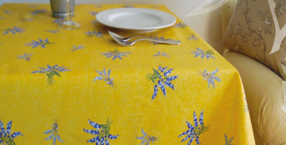 French Tablecloth Coated All Over Yellow Valensole