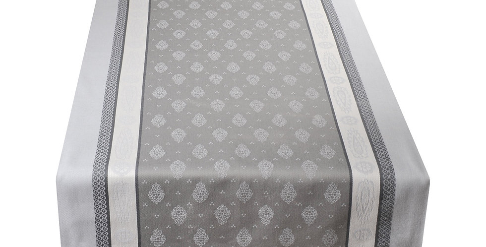 French Table Runner Jacquard Grey Vaucluse