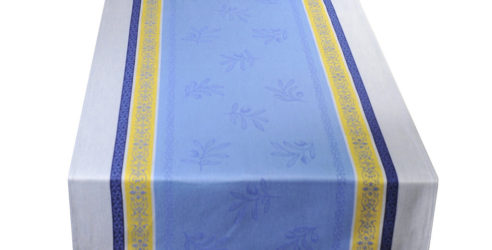 French Table Runner Jacquard Blue/Yellow Olivia