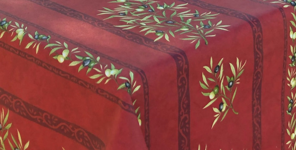 """French Tablecloth Coated 60"""" Round Striped Red Clos des Oliviers"""