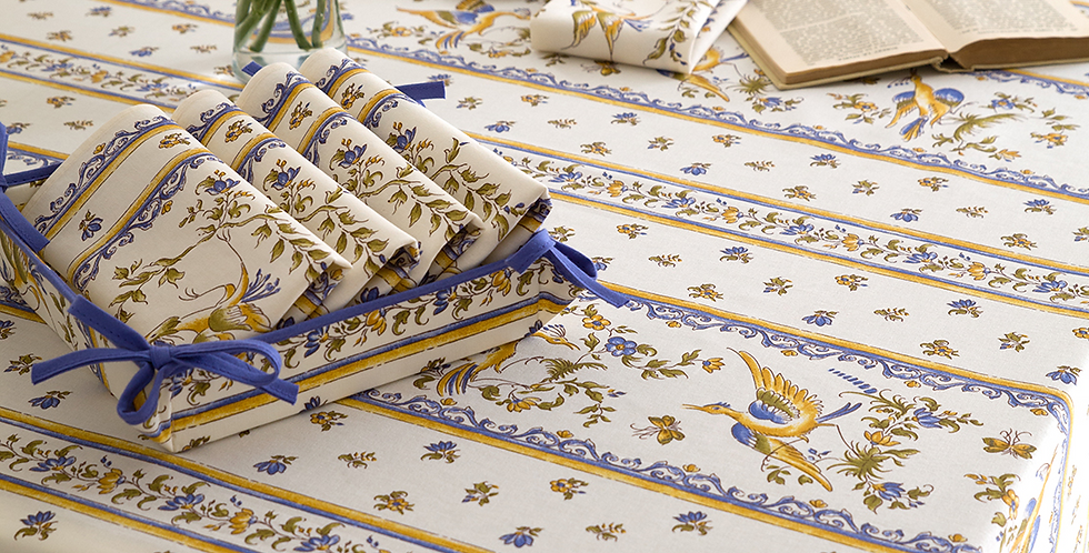 French Tablecloth Coated Striped Blue Moustiers
