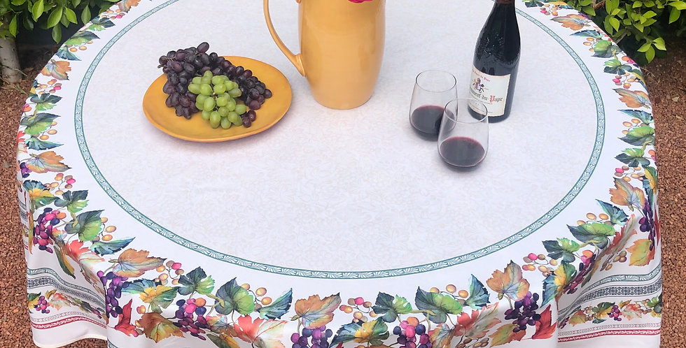 French Tablecloth Coated Round Grapes