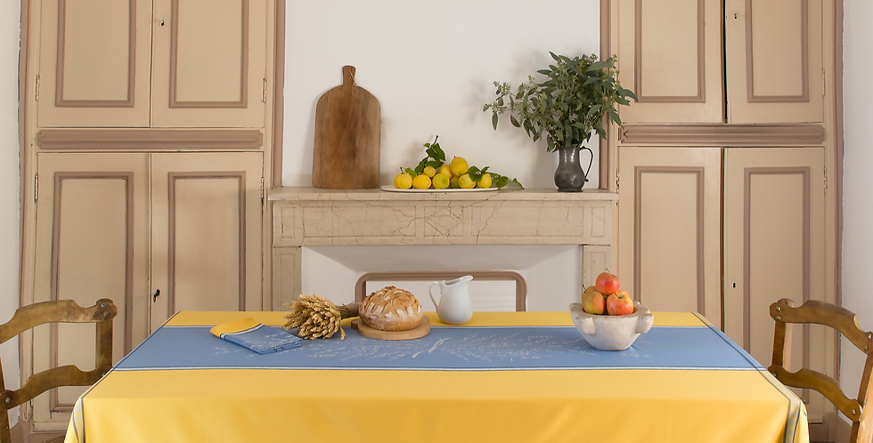 French Tablecloth Jacquard Blue/Yellow Grignan
