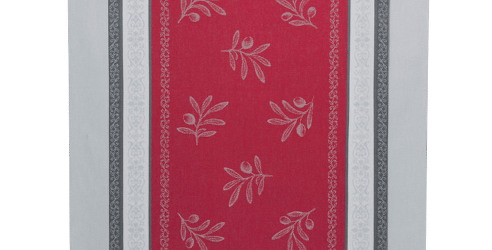 French Table Runner Jacquard Red/Grey Olivia