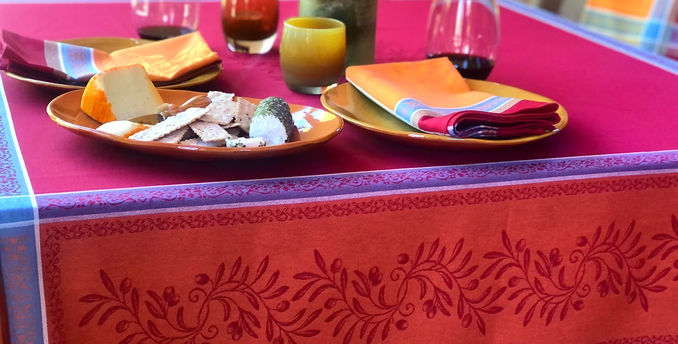 French Tablecloth Jacquard Orange/Red Olivia