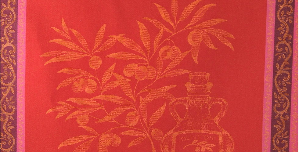 Red Olive Oil Jacquard Woven Kitchen Towel