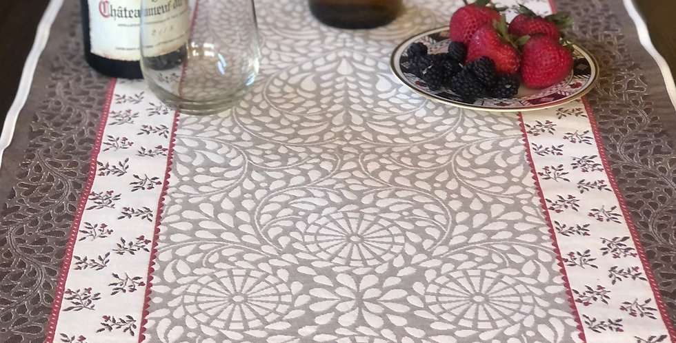 French Table Runner Jacquard Tapestry Taupe/Red Aubrac