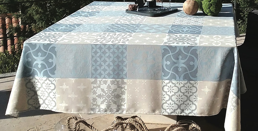 French Tablecloth Jacquard Blue/Grey Carces