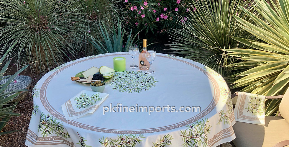 """Ecru Clos Des Oliviers 70"""" Round Coated Cotton Tablecloth"""