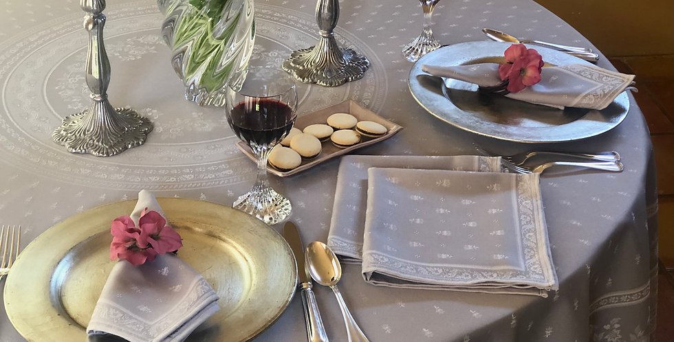 """French Tablecloth Jacquard 90"""" Round Light Grey Durance"""