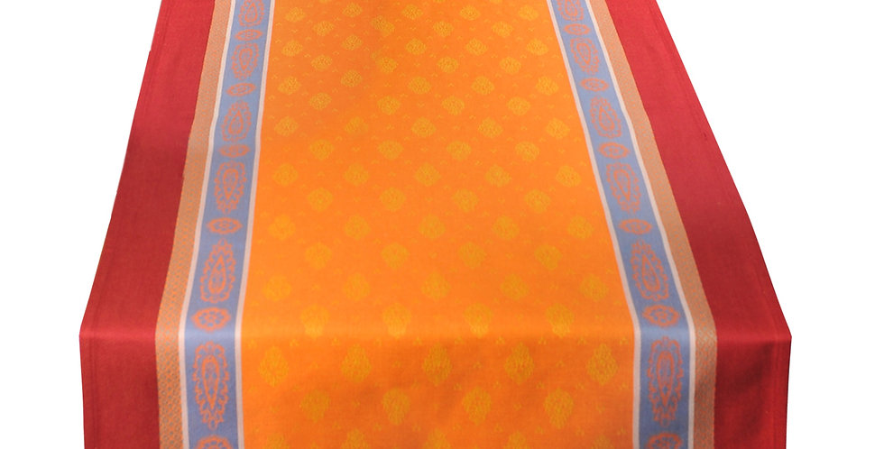 French Table Runner Jacquard Orange/Red Vaucluse