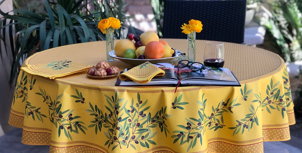 """French Tablecloth Coated 90"""" Round Yellow Nyons"""