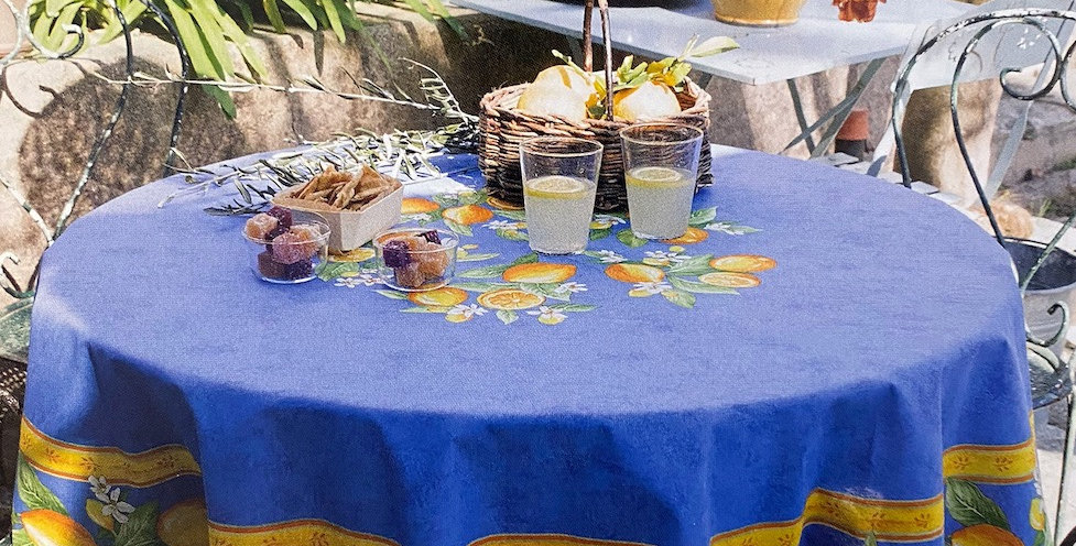 """French Tablecloth Coated 70"""" Round Blue Citron"""