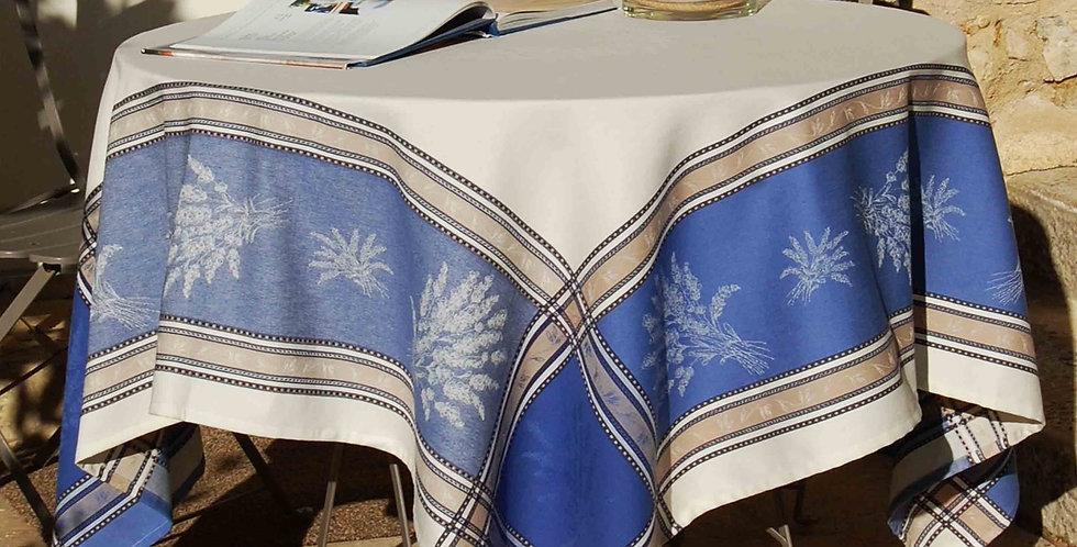 French Tablecloth Jacquard Ecru/Blue Senanque