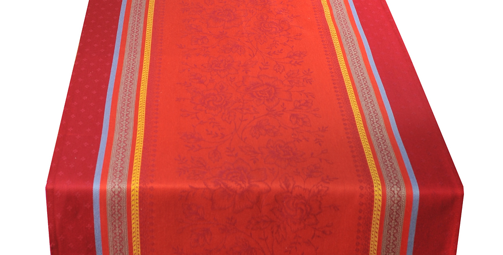 French Table Runner Jacquard Red Massilia
