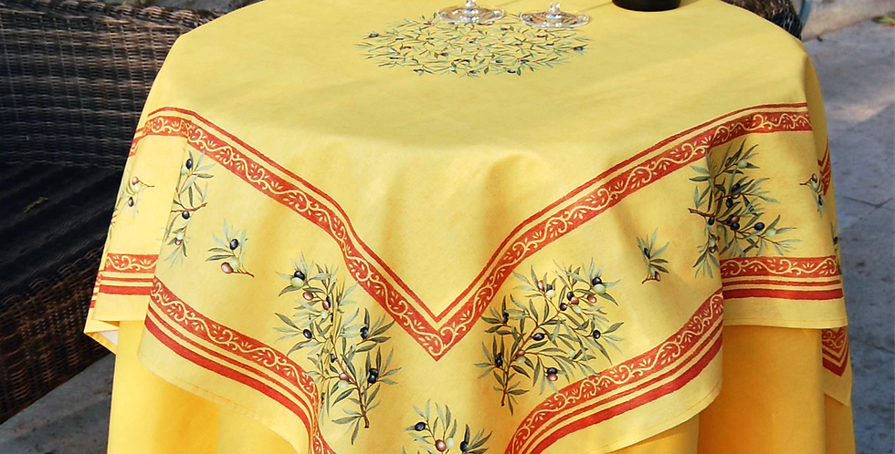 French Table Topper Cotton Yellow Clos des Oliviers