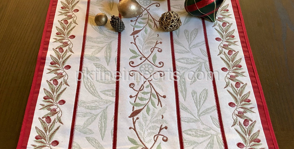 French Table Runner Jacquard Tapestry Ecru/Red Auriol