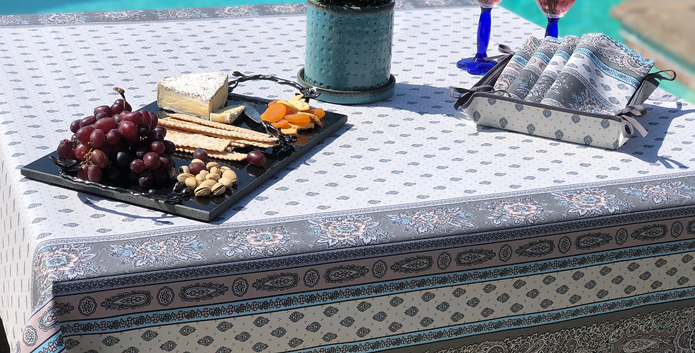 French Tablecloth Coated Turquoise Bastide