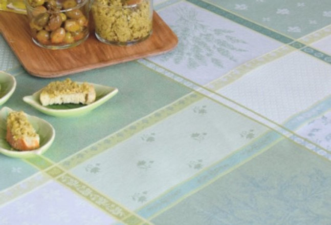 "Green/Ecru Valbonne 70"" Round Coated Jacquard Woven Tablecloth"