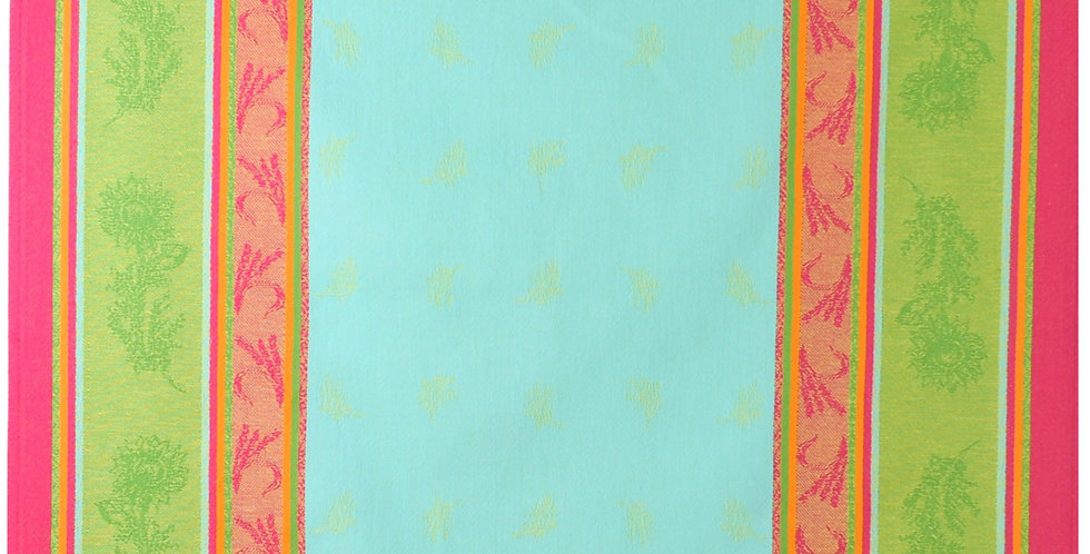 French Kitchen Towel Jacquard Turquoise Cezanne