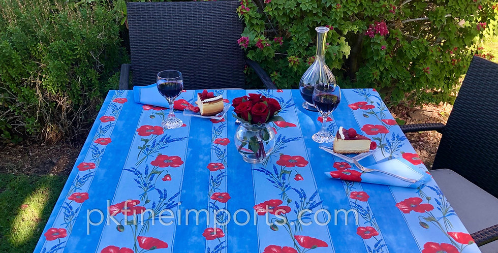 Light Blue Poppy & Lavender Striped Coated Cotton Tablecloths