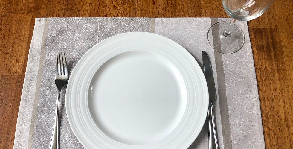 Natural Birmane Jacquard Coated Placemat Set of 6