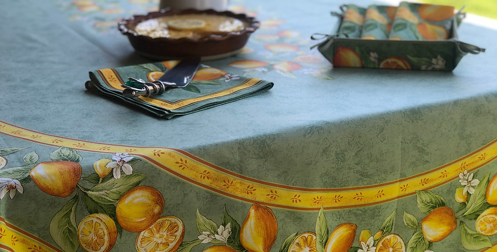 French Tablecloth Coated Green Citron